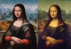 The famous Mona Lisa painting exhibited in the Louvre museum in Paris (right), and her sister painting the Museo del Prado in Madrid (left).