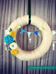 My Spring yarn wreath. #yarnwreath #wreath #springwreath