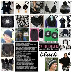 20 Free Patterns Crocheted in the Color Black. Our Free Pattern Friday Collection.