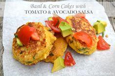 Basil & Corn Cakes with Tomato Avocado Salsa