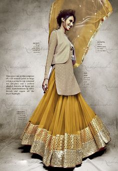 CLASSY YELLOW AND BEIGE JACKET STYLE ANARKALI SUIT-11031