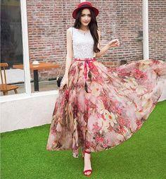 5689cabd71 New Fashion Elastic Waist Casual Chiffon Skirt Summer Bohemian Floral Print  Beach Maxi Flower Long Skirt