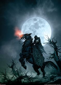 Fantasy and Gothic Art: Death on Horse by susie Dark Fantasy Art, Fantasy Artwork, Fantasy Kunst, Fantasy World, Tolkien, Grim Reaper Art, Ange Demon, Angels Among Us, Gothic Art