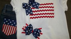 PRE- HOLIDAY SALE ends May 19th - Get matching Hairbow free with purchase of Girls, Toddlers 4th of July American Flag T-Shirt and Shorts