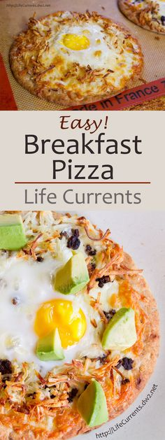 Breakfast Pizzas with lots of cheese, hashbrowns, black beans, eggs, and of course, avocado are a great way to start the day!