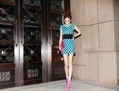 Best-selling Vogue Polka Dots Sleeveless Skinny Dress Blue $8.65