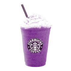 Purple coffee courtesy of Starbucks. It's called Blueberry and Creme Frappuccino. Purple Drinks, Purple Food, Purple Lilac, Shades Of Purple, Deep Purple, Starbucks Menu, Starbucks Smoothie, Mauve, All Things Purple