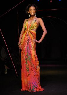 The vibrant colours of the summer in a chiffon flowing gown