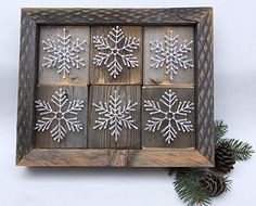 The Nor'easter. Snowflake collage string art sign. Perfect for Holiday home decorations and snowflake gifts