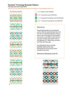Summer Trimmings Two-Drop Peyote Stitch Bracelet Pattern