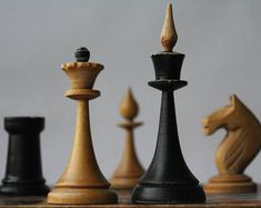 Soviet chess set, Vintage wooden chess USSR, Wood chess.