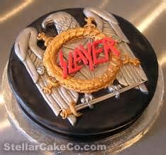 I love this cake! The Logo is done so perfectly. Slayer is one of greatest heavy metal bands of all time. Gosh, I want this as my birthday cake. Crazy Cakes, Rock And Roll Birthday, My Birthday Cake, Birthday Ideas, Happy Birthday, Mermaid Cakes, Cake Board, Cakes For Men, Confectionery
