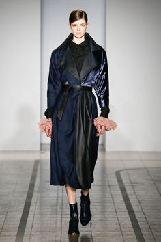 Mila Schön - look 17 L'AMANTE DI CORTO MALTESE – Biker trench dress in irregular dyed vicuna with leather and silk velvet inserts.