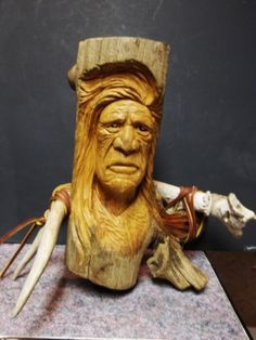 native American indian by WoodcarvingByMike on Etsy, $175.00