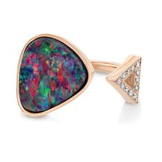 Jewel of the day: Jill Hoffmeister Opal Triangle Ring Opal Rings, Gemstone Rings, Triangle Ring, October Birth Stone, Druzy Ring, Statement Rings, Birthstones, Rose Gold, Jewels
