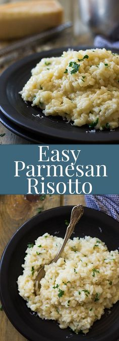 This Easy Parmesan Risotto has been simplified with the help from America's Test Kitchen. Less stirring, less work but creamy, dreamy risotto!! Califlower Risotto, Cauliflower Rice Risotto, Veggie Risotto, Risotto Balls, Shrimp Risotto, Mushroom Risotto, Parmesan Risotto, Risotto Rice, Garlic Parmesan