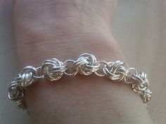 Sterling Silver Chain Maille bracelet with blue Quartz Adornment by Etsy seller eemabeth. by wanting