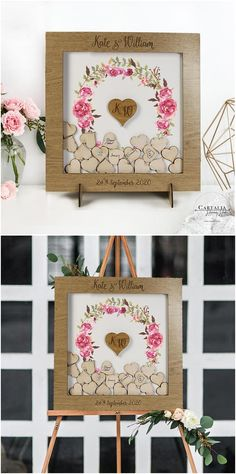 Floral Botanic Watercolor Wrath Fun Different Alternative Personalised drop box Oak frame Wedding Guest Book
