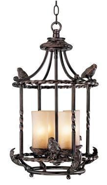 The vintage country room scene incorporates bird motifs as a style element. - Lighting & Decor by LampsPlus.com (=)