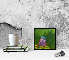 Little blue bird no.6 on the green grass Oil by GausCraftStudio