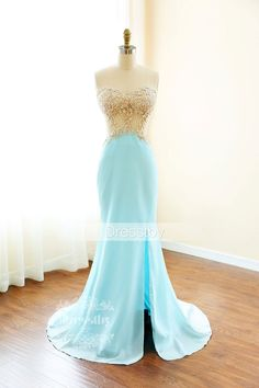 Blue sweetheart neck lace backless long prom dress, blue formal dress for teens