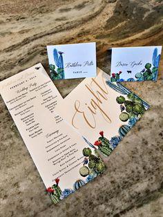 Snorkel blue desert watercolor wedding invitations. Tucson Bride and Groom wedding Colors Stationer: Brie Dumais Designs cactus invitations stationery suite