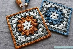 Crochet granny square pattern with flower motif. Neat circle inside a square crochet block pattern. Crochet Blocks, Granny Square Crochet Pattern, Crochet Squares, Crochet Blanket Patterns, Crochet Motif, Granny Square Tutorial, Granny Square Blanket, Free Crochet Square, Afghan Patterns