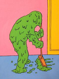 Green slime, clean up, self, sweep