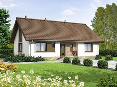 Projekt domu Mokka 2 89,59 m2 - koszt budowy 132 tys. zł - EXTRADOM Rural House, House Viewing, Wooden House, Cottage Homes, Simple House, Home Fashion, Exterior Design, Home Projects, House Plans