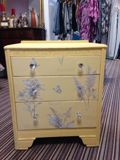 Gorgeous draws painted in Dijon by Everlong with wall paper added to the front of the draws! One of my favourites