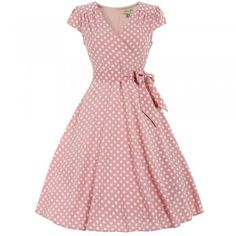 Dawn Pastel Pink Polka Dot Swing Dress | Vintage Dresses - Lindy Bop