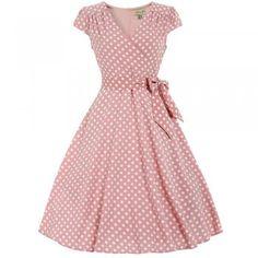 'Audrey' Pink Rose Print Swing Dress   Vintage inspired ...