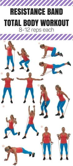 Put down the dumbbells and try these seven resistance band moves to tone your whole body! Perfect for travel or a small space! Burn it up and firm it up my favorite 7 exercises in this #quickworkout #totalbody