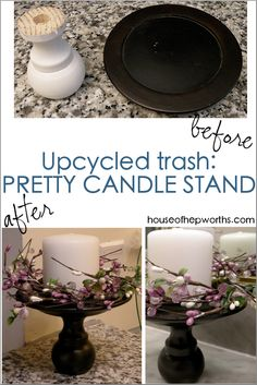 Turn thrift store trash into the cutest candle stand! www.houseofhepwor… Turn thrift store trash into the cutest candle stand! www. Thrift Store Crafts, Crafts To Sell, Diy Crafts, Sell Diy, Thrift Stores, Decor Crafts, Paper Crafts, Upcycled Crafts, Repurposed