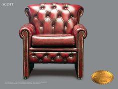 Chesterfield Chaise salle a mange Scott (DC) Antique bordeaux rouge