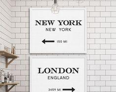 New York City stampa Londra arte industriale Wall Decor Gossip arte due stampe a buon mercato arte regalo per NYC amante Decor moderna metropolitana Tile idee