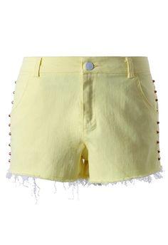 Chicwish Studded Light Yellow Shorts