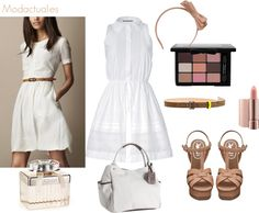 Conjunto para mujer de vestido blanco y accesorios en beige y marrón