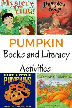 Pumpkin books and literacy activities for the fall season. Read some great pumpkin books for kids and then do these related literacy activities to extend the stories. Fall Preschool, Preschool Literacy, Preschool Books, Activities For Kids, Literacy Bags, Kindergarten Crafts, Early Literacy, Halloween Books