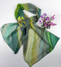 Green Scarf Silk Shawl Wrap, Batik Scarf, Unique Handmade Scarves, Floral Summer Light Scarf, Painted Silk Scarf, Wearable art, ooak, lily by SilkFantazi on Etsy