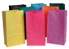 Kids' Paper Craft Kits - School Smart Flat Bottom Paper Bags  6 x 11 inches  Pack of 28  Assorted Colors * Be sure to check out this awesome product.