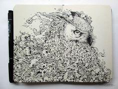 Guardian Spirit by Kerby Rosanes - Moleskine Doodles Doodle Art, Pages Doodle, Owl Doodle, Ink Illustrations, Illustration Sketches, Gravure Illustration, Pen Doodles, Sketchbook Drawings, Pen Drawings