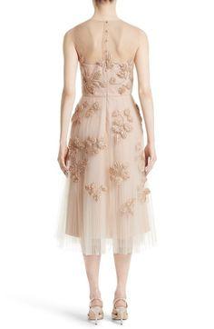 Main Image - Carolina Herrera Sequin Leaf Tulle Midi Dress