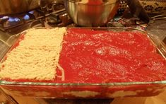 ramen noodle lasagne - this pic is not of the completed dish, but shows how to layer the ramen noodles.