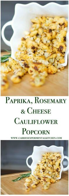 Paprika, Rosemary & Cheese Cauliflower Popcorn made with garden fresh cauliflower; then roasted with paprika, rosemary and Parmesan cheese. Appetizer Recipes, Snack Recipes, Appetizers, Cookbook Recipes, Vegetable Recipes, Vegetarian Recipes, Healthy Recipes, Vegetarian Lifestyle, Cauliflower Popcorn