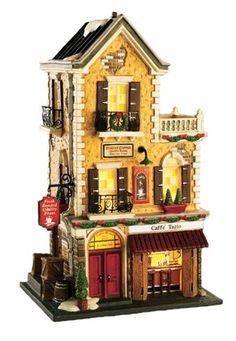 Caffé Tazio Dept 56 Christmas In The City Village Grinch Christmas Tree, Christmas In The City, Christmas Town, Christmas Time Is Here, Beautiful Christmas, Department 56 Christmas Village, Christmas Village Display, Christmas Village Houses, Christmas Villages