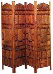 Palace Hand Carved Wooden Folding Screen