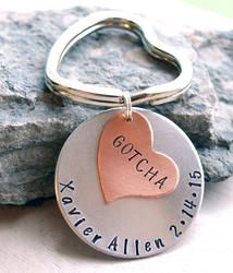 Gotcha Day Adoption Key Chain Personalized Hand Stamped