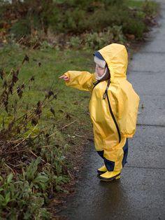 Look! A kid's raincoat (totally a hazmat suite).