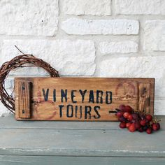 Vineyard Tours sign wine crate by SummerRoad on Etsy. $20.00, via Etsy.